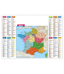 Calendrier sous-main 2021 plastifié - REGIONS