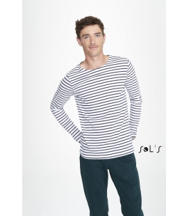 Tee-shirt homme manches longues rayé SOL'S - 150g/m² - MARINE MEN