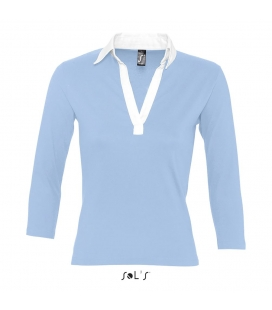 Polo rugby bicolore  femme manches 3/4 SOL'S - 190g/m² - PANACH